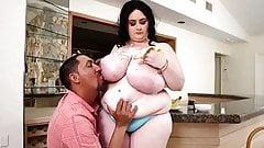 Fat tits in purple dress
