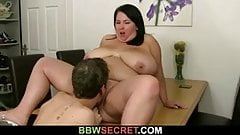 Married guy licks and fucks her fat pussy