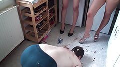 lea and melady dominate slave joschi in the kitchen extrem