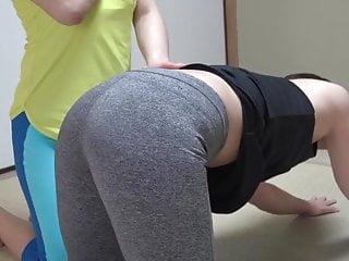 Panting lesbians Yoga pants spanking