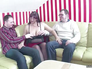 German 3some - German mom teach step-son and friend how to fuck in 3some