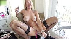 Stunning blonde milf fucks her wet pussy