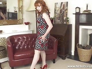 Fucking with girdle on - Busty redhead finger fucks wet pussy in nylons girdle heels