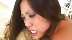 Japanese American girl takes a big load in her mouth