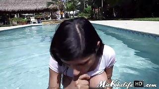 Hot pornstar Mia Khalifa gets pussy stretched by the pool