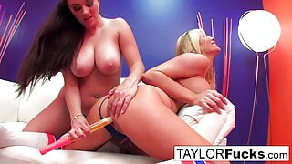 Hot girls play with bubbles