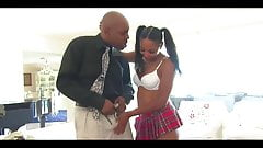 Black Teen In Socks And Her Mature Love