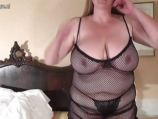 Fat deposit in breast Fat huge breasted housewife mom playing alone