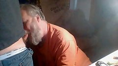 Faggot sucking off young cock at campground