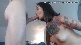 My slutty bitch knee down and blow job p3
