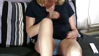My sister-in-law satisfies her horny pussy for me