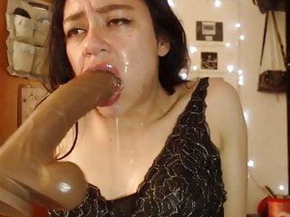 Cross eyed xxx - Throatfucking a huge dildo and cross-eyed orgasm