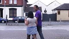 Afro dude picks up busty brunette girl for sex
