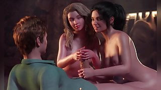 Sex with two of her girlfriends at a party. Sex Game 3d