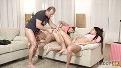 Slutty young girls fucked by mom's old lover behind her back