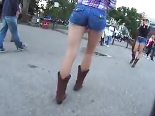 Teen country girl roundup Candid bubble ass country girl in tight jean shorts boots