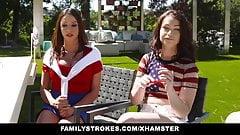 FamilyStrokes - сексуальная милфа присоединяется к пасынку и дочке в тройничке