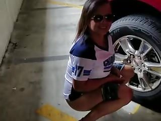 Car pee ride - Hot brunette teen pees next to car at public parking