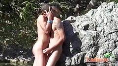 Nude ethnic gay boys romping under the torrid sun