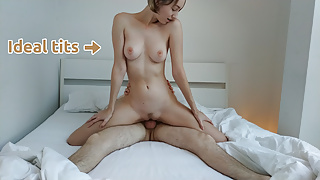 Wife's Ideal Tits Bounce while she Jumps on me