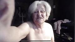 Busty granny on webcam