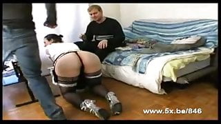Mary in maid uniform double teamed