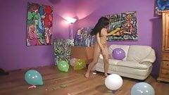 Nude teen pops balloons