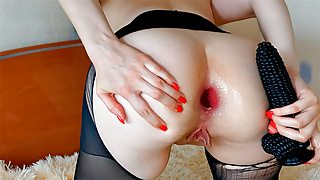 Big Black Dildo Corn Destroyed Small Anus Is Ready For Anal