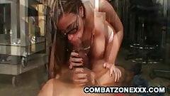Big tit Milf Salena Castro slides a cock between her tits