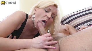 HOT mature mother sucks and fucks her young boy