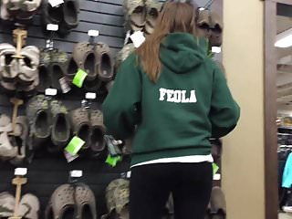 Porno croc Dw teen feola in spandex pants looking at crocs
