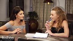 Lesbea Tiny Tina takes French oral lesson with lesbian tutor