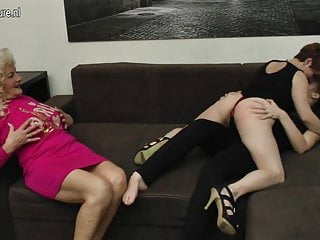 Old granny fucked - Old granny fucked by two young sluts