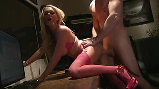 Ashley Paige loves stting on her dude's lap enjoying the hardcore delivery against her walls