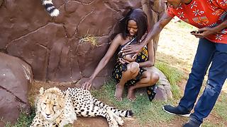 Ebony couple fucking in safari park