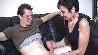 Step Mum Marie makes his big cock cum