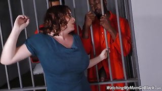 My StepMom is having fun with Two Black guys in Jail.