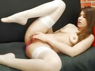 Jerking off penis small Tanyusha jerking off in white stockings