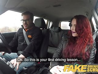 Man fucks car video Fake driving school crazy hot redhead fucks car gearstick af