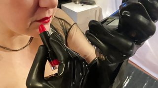 Dressing up for Latex Fetish Video