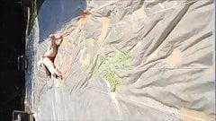 PVC SWIM BRIEFS LOSER SLIDES THRU SLIME IN NIPPLE CLAMPS