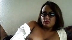 Big tits on girl rubbing pussy under skirt