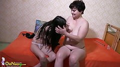 OldNanny Granny and Lesbian teen toys play