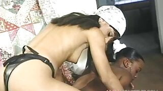 Two girls pounding each other pussy with a strap on