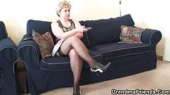 Granny double penetration from both sides