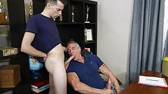 Silver Daddy Step-Dad Principle Fucks His Step-Son