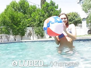 Her anus lubed - Lubed labor day celebration dripping creampie fuck
