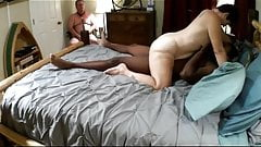 Mistress Joyce gets good fuck by bbc, cuckold cum cleanup