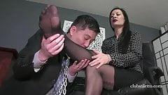 Man sniffs and licks his mistresses nylon feet