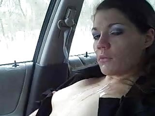 Crazy chick fucking - Crazy chick takes cum bath in a car on the road